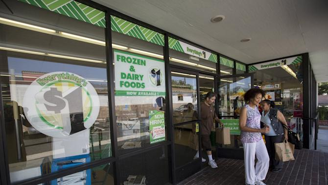 Shoppers exit a Dollar Tree store in Pasadena
