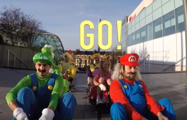 Ultimate cosplay: Friends dress in 'Mario Kart' outfits, race scooters inside a mall