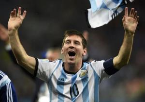 Argentina's Messi celebrates his team's win over the Netherlands after their 2014 World Cup semi-finals at the Corinthians arena in Sao Paulo