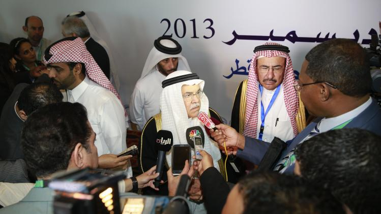 Saudi Arabia's Oil Minister Ali al-Naimi speaks to journalists during the opening of the Ministerial Conference of the OAPEC in Doha