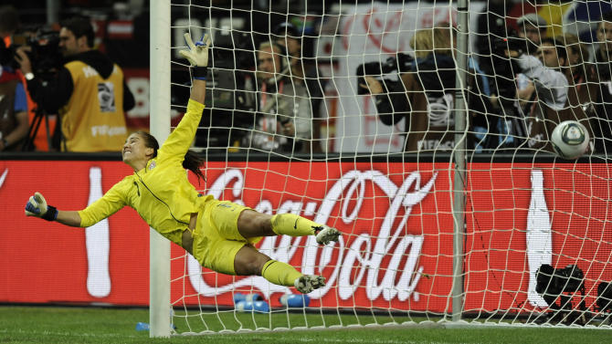 United States goalkeeper Hope Solo fails to save a penalty during the penalty shootout of the final match between Japan and the United States at the Women's Soccer World Cup in Frankfurt, Germany, Sunday, July 17, 2011. (AP Photo/Martin Meissner)