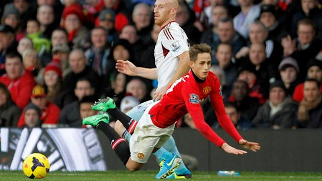Manchester United's Adnan Januzaj dives against West Ham (PA Photos)