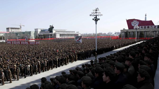 North Koreans gather during a rally at Kim Il Sung Square in downtown Pyongyang, North Korea, Friday, March 29, 2013. Tens of thousands of North Koreans turned out for the mass rally at the main square in Pyongyang in support of their leader Kim Jong Un's call to arms. (AP Photo/Jon Chol Jin)