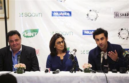 "Bollywood actors Ranbir Kapoor and his parents Neetu and Rishi Kapoor answer questions during a news conference for ""Besharam"" in New York"