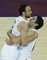 Argentina&#39;s Manu Ginobili, left, and Leonardo Gutierrez react during the men&#39;s bronze medal basketball game against Russia at the 2012 Summer Olympics, Sunday, Aug. 12, 2012, in London. (AP Photo/Matt Slocum)
