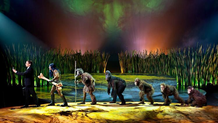 "This undated theater image released by Cirque du Soleil shows a scene from ""Totem,"" a show that traces the journey of the human species from its original amphibian state. The show will open March 14 at Citi Field, home of the New York Mets. (AP Photo/Cirque du Soleil)"