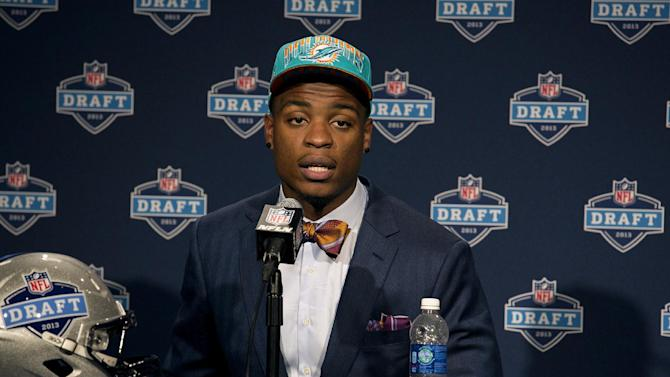 Dion Jordan, from Oregon, speaks during a news conference after being selected third overall by the Miami Dolphins during the first round of the NFL football draft, Thursday, April 25, 2013, at Radio City Music Hall in New York. (AP Photo/Craig Ruttle)