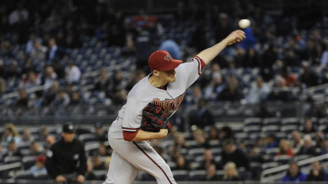 Arizona Diamondbacks pitcher Patrick Corbin delivers the ball to the New York Yankees during first the inning of a baseball game, Thursday, April 18, 2013, at Yankee Stadium in New York. (AP Photo/Bill Kostroun)