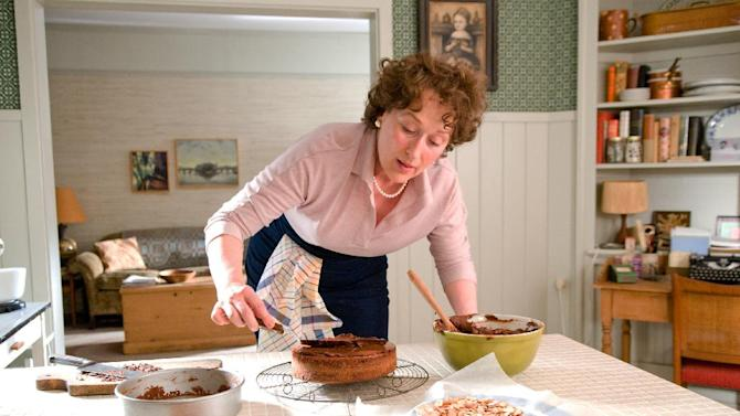 """In this film publicity image released by Columbia Pictures, Meryl Streep portrays Julia Child in a scene from, """"Julie & Julia,"""" written and directed by Nora Ephron. Publisher Alfred A. Knopf confirmed Tuesday, June 26, 2012, that author and filmmaker Nora Ephron died Tuesday of leukemia in New York. She was 71. The film, starring Streep, Amy Adams and Stanley Tucci was Ephron's last film. (AP Photo/Columbia Pictures/Sony, Jonathan Wenk)"""