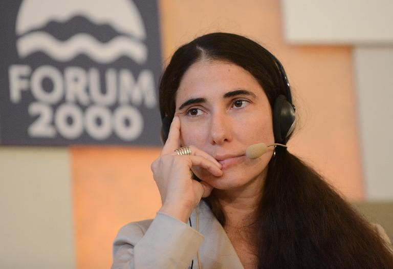 Cuban opposition blogger Yoani Sanchez attends a forum on September 17, 2013, in Prague