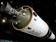 The third stage of a historic Saturn V moon rocket as seen before it was damaged by gunshots on May 3, 2012 at the U.S. Space & Rocket Center in Huntsville, Alabama.