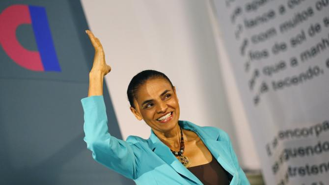 BSP presidential candidate Marina Silva gestures during a campaign rally in Rio de Janeiro