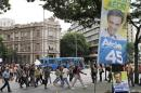 A campaign banner for presidential candidate Aecio Neves hangs over a plaza in Belo Horizonte
