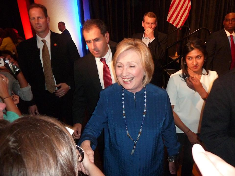 Hillary Clinton attends a campaign rally for Colorado Democratic candidates