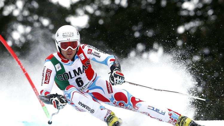 Fanara of France clears a gate during the first run in the men's World Cup giant slalom skiing race in Alta Badia