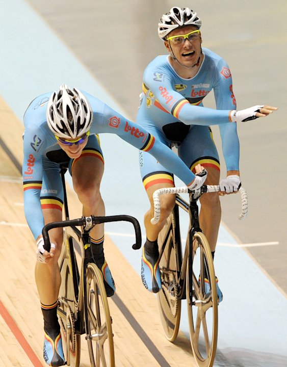 Gijs Van Hoecke (L) And Teammate Kenny De Ketele Of Belgium Speed Towards AFP/Getty Images