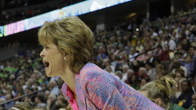 Baylor head coach Kim Mulkey speaks during the first half in the NCAA Women's Final Four semi-final college basketball game against Stanford, in Denver, Sunday, April 1, 2012. (AP Photo/Julie Jacobson)