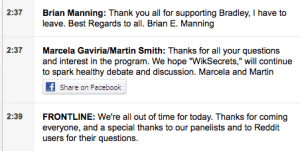Julian Assange Makes a Guest Appearance in Frontline Live Chat