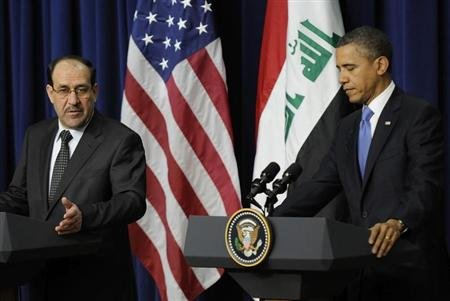 Al-Maliki and Obama hold a joint news conference in the Eisenhower Executive Office Building on the White House campus in Washington
