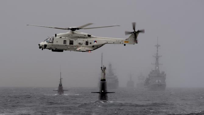 Helicopter of Netherlands participates in NATO's Dynamic Mongoose anti-submarine exercise in the North Sea off the coast of Norway