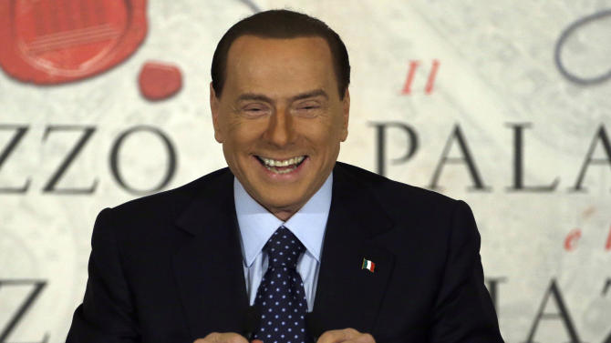 "FILE - A Wednesday, Dec. 12, 2012 photo from files showing People of Freedom party leader Silvio Berlusconi smiling as he speaks during a book presentation of Italian journalist Bruno Vespa ""Il Palazzo e la Piazza"" (The Palace and the Square) in Rome. Former Italian premier Silvio Berlusconi has revealed he is engaged to a woman almost 50 years his junior, and says that ""finally I feel less alone.""The 76-year-old media baron said Sunday his engagement to 28-year-old Francesca Pascale — part of a support group called ""Silvio, we miss you"" — is ""official"". (AP Photo/Gregorio Borgia, File)"