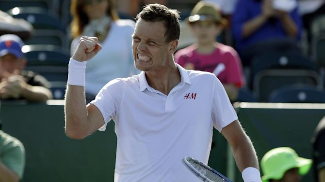 Tomas Berdych, of the Czech Republic, reacts after defeating Sam Querrey during the Sony Open tennis tournament, Tuesday, March 26, 2013, in Key Biscayne, Fla. Berdych won 6-1, 6-1. (AP Photo/Lynne Sladky)