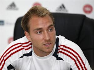 Denmark's Eriksen addresses a news conference at the National Stadium in Ta' Qali, outside Valletta