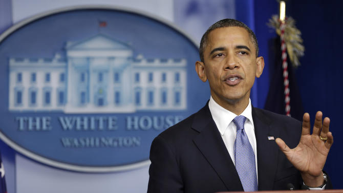 President Barack Obama speaks in the White House Briefing Room in Washington, Monday, Oct. 29, 2012, after returning to the White House from a campaign stop in Florida to monitor Hurricane Sandy. (AP Photo/Jacquelyn Martin)
