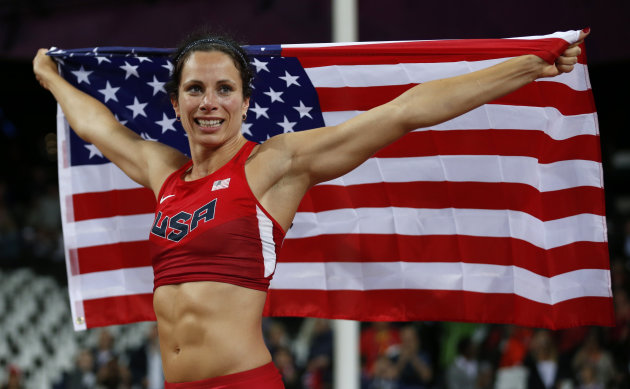 United States' Jennifer Suhr celebrates winning gold in the women's pole vault final during the athletics in the Olympic Stadium at the 2012 Summer Olympics, London, Monday, Aug. 6, 2012. (AP Photo/Matt Dunham)