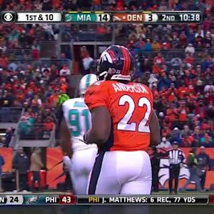 Denver Broncos running back C.J. Anderson runs for 22 yards