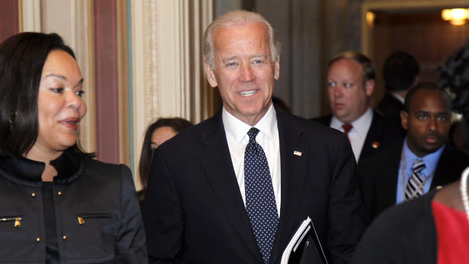 Vice President Joe Biden arrives at the Capitol for a stepped-up round of debt reduction talks on Capitol Hill Tuesday, June 14, 2011 in Washington. (AP Photo/Alex Brandon)