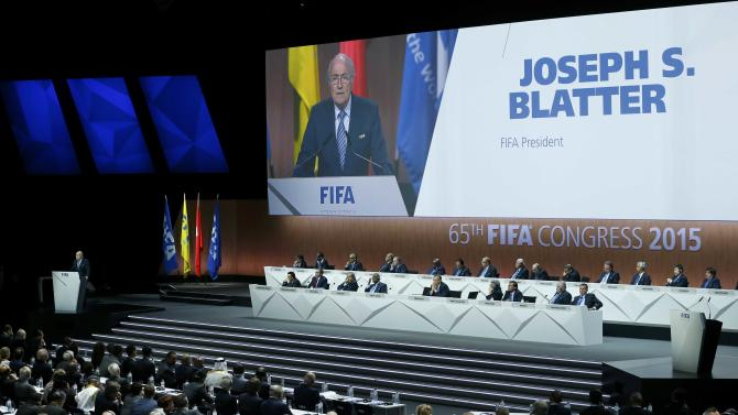 FIFA President Blatter delivers an opening speech at the 65th FIFA Congress in Zurich
