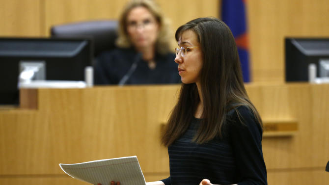 Jodi Arias addresses the jury on Tuesday, May 21, 2013, during the penalty phase of her murder trial at Maricopa County Superior Court in Phoenix.  Arias was convicted of first-degree murder in the stabbing and shooting to death of Travis Alexander in his suburban Phoenix home in June 2008. (AP Photo/The Arizona Republic, Rob Schumacher, Pool)