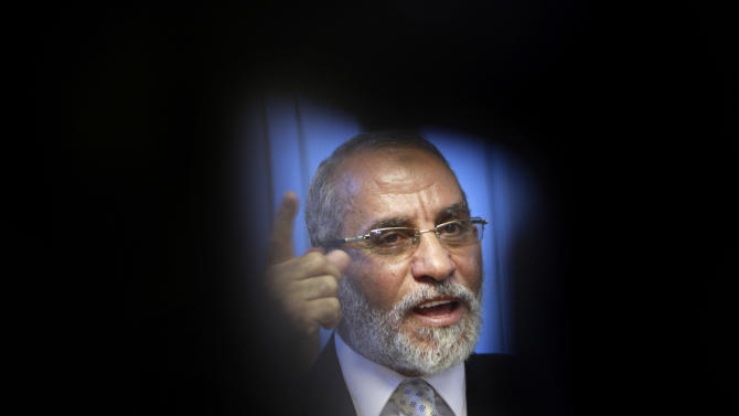 "FILE - In this Tuesday, Oct. 26, 2010 file photo, Muslim Brotherhood General Guide Mohammed Badie talks during an interview with the Associated Press at his office in Cairo Egypt. A leading Jewish organization is calling Saturday, Oct. 13, 2012 on the White House to cut contacts with Egypt's most powerful political movement, the Muslim Brotherhood, over anti-Semitic remarks attributed to its spiritual guide. Mohammed Badie said that Jews were spreading ""corruption,"" had slaughtered Muslims and profaned holy sites, according to comments published on the group's website and emailed to reporters. He further called on Muslims to fight Israel, saying Zionists only understood force.(AP Photo/Amr Nabil, File)"
