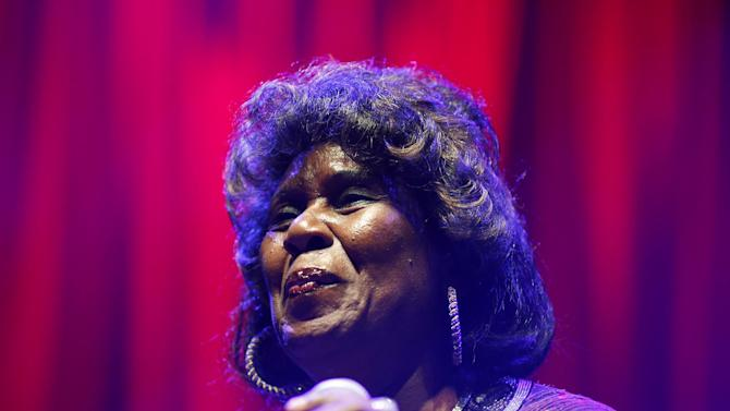 Shirley King, eldest daughter of B.B. King, performs Friday, May 22, 2015, in Las Vegas. King hosted and performed at a free musical event at the Brooklyn Bowl. (AP Photo/John Locher)