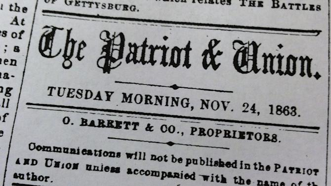 This undated photo provided by The Patriot-News shows a copy of The Harrisburg Patriot & Union's Nov. 24, 1863, edition. The Patriot-News, of Harrisburg, Pa., retracted a dismissive editorial that was penned by its Civil War-era predecessor on President Abraham Lincoln's Gettysburg Address, Thursday, Nov. 13, 2013. (AP Photo/PennLive.com)