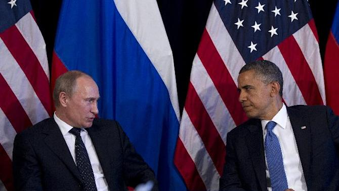 FILE - This June 18, 2012 file photo shows President Barack Obama meeting with Russia's President Vladimir Putin, in Los Cabos, Mexico. Tensions between the U.S. and Russia have been rising. The countries have been at odds over Syria's civil war, Iran's nuclear program and Russia's crackdown on domestic opposition. U.S. officials are uneasy about what they see as a more assertive foreign policy by Vladimir Putin, who returned to the Russian presidency in May. (AP Photo/Carolyn Kaster, File)