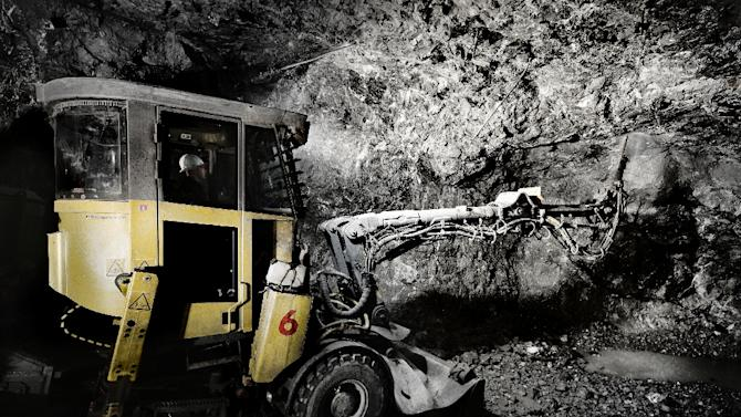 A handout photo shows a worker operating a scaling machine inside Boliden Group's Zinc and lead mine in Tara, Ireland