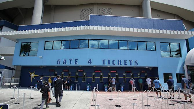 Tropicana Field gate 4 before a baseball game between the Chicago White Sox and Tampa Bay Rays on Sunday, Sept. 21, 2014 in St. Petersburg, Fla. The Chicago White Sox won 10-5. (AP Photo/Reinhold Matay)