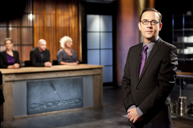 Chopped host Ted Allen with Judges: Amand Freitag,Chris Santos and Anne Burrell as seen on Food Networks Chopped All Star Tournament Finale, Season 10 Ep10-13
