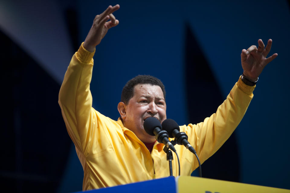 Venezuela's President Hugo Chavez delivers a speech during a campaign rally in Guarenas, Venezuela, Saturday, Sept. 29, 2012. Venezuela's presidential election is scheduled for Oct. 7. (AP Photo/Rodrigo Abd)