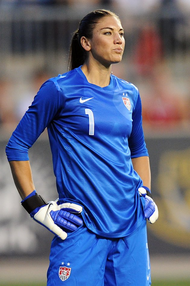 CHESTER, PA - MAY 27: Hope Solo #1 of the USA stands in goal during the game against China at PPL Park on May 27, 2012 in Chester, Pennsylvania. USA won 4-1. (Photo by Drew Hallowell/Getty Images)