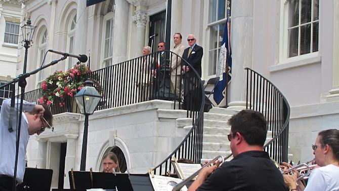 Brass players from the Charleston Symphony Orchestra perform during the opening ceremonies of the Spoleto Festival USA  in Charleston, S.C., on Friday, May 25, 2012. The internationally known arts festival was opening its 36th season. (AP Photo/Bruce Smith)