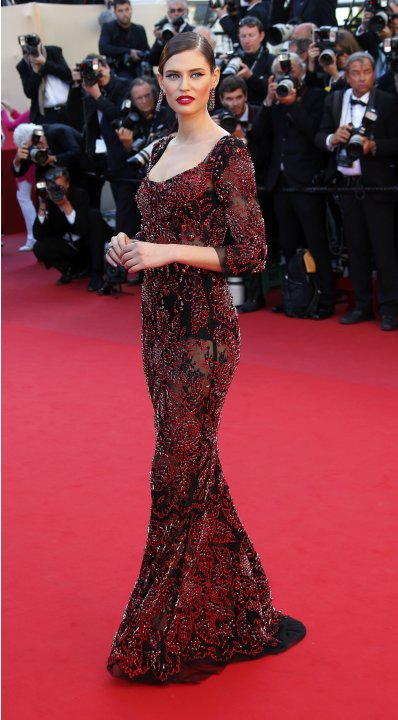 "Model Bianca Balti arrives for the screening of the film ""La Venus a la Fourrure"" in competition during the 66th Cannes Film Festival"