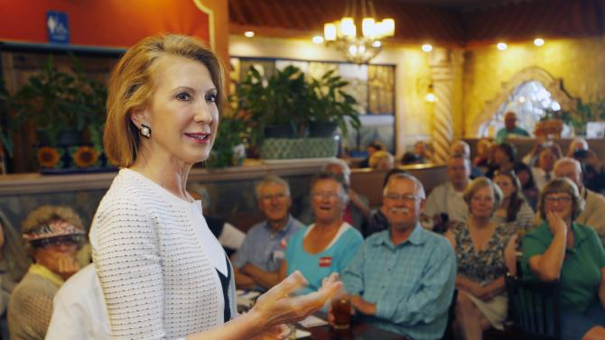 Republican presidential candidate, former Hewlett-Packard CEO Carly Fiorina, speaks at a luncheon hosted by the Derry Republican Town Committee, Tuesday, May 26, 2015, in Derry,NH (AP Photo/Jim Cole)