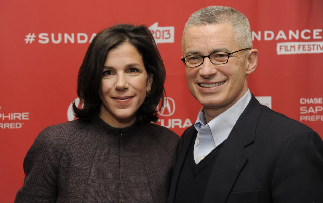 "Alexandra Pelosi, left, director of HBO Documentary Films' ""Fall to Grace,"" poses with the film's subject, former New Jersey Gov. Jim McGreevey, before a screening of the film at the 2013 Sundance Film Festival, Friday, Jan. 18, 2013, in Park City, Utah. (Photo by Chris Pizzello/Invision/AP)"