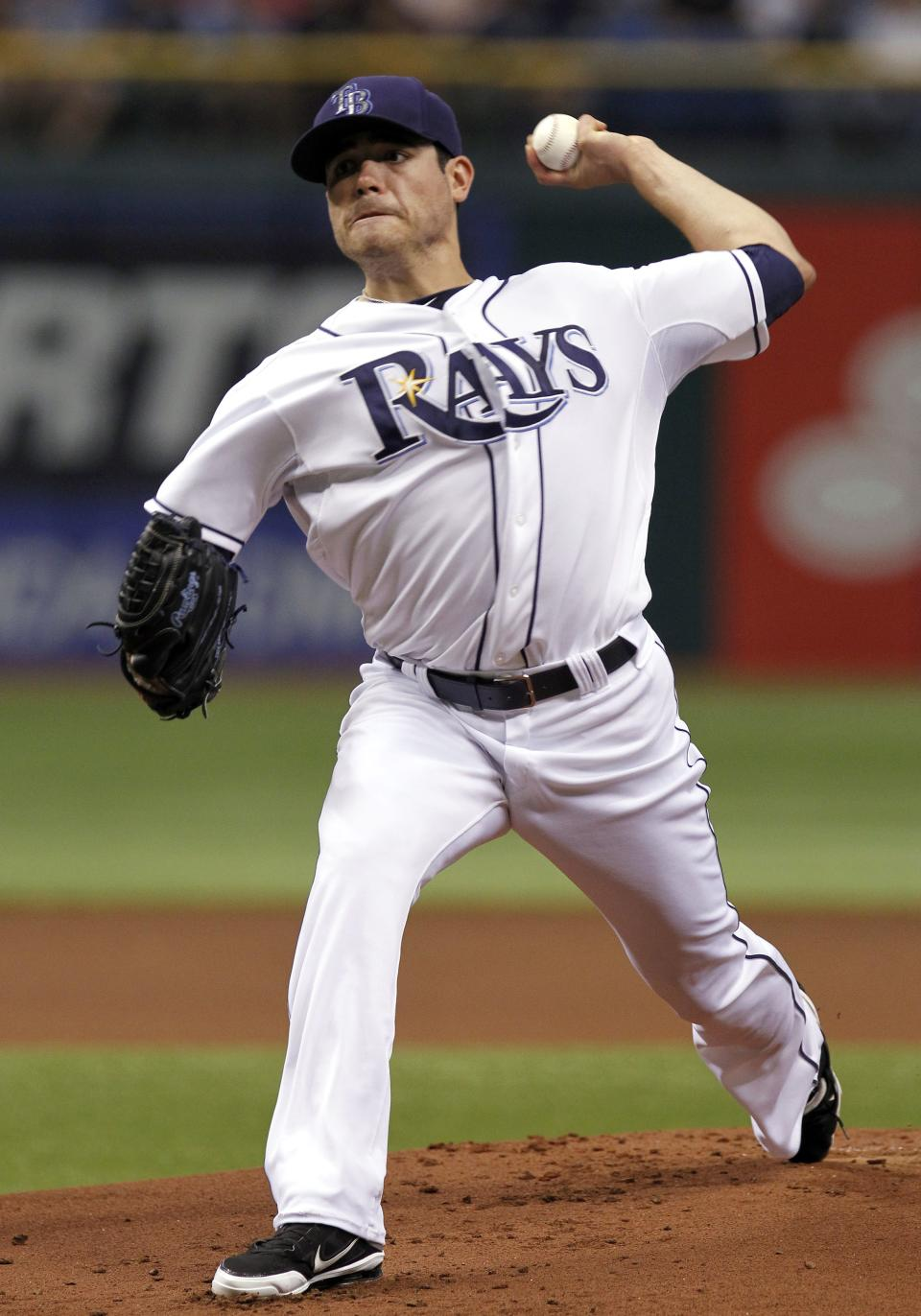 Tampa Bay Rays starting pitcher Matt Moore delivers to the Chicago White Sox during the first inning of a baseball game Monday, May 28, 2012, in St. Petersburg, Fla. (AP Photo/Chris O'Meara)