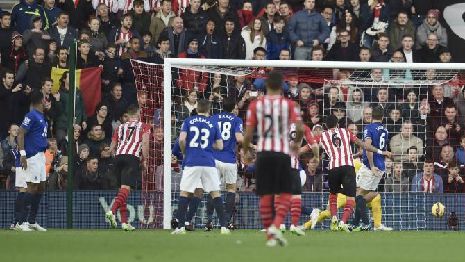 Everton's Romelu Lukaku scores an own goal during their English Premier League soccer match against Southampton at St Mary's Stadium in Southampton