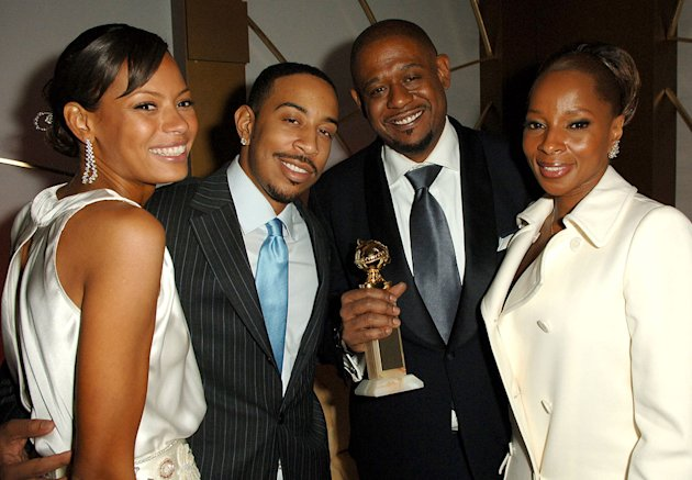 Keisha Whitaker, Chris &quot;Ludacris&quot; Bridges, Forest Whitaker and Mary J. Blige and guest (left) at the In Style and Warner Bros. 2007 Golden Globe After Party. 