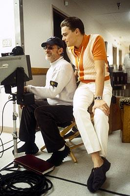 Director/producer Steven Spielberg and Leonardo DiCaprio on the set of Dreamworks' Catch Me If You Can